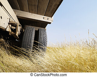 Low angle view of truck. - Low angle view of farm truck in...
