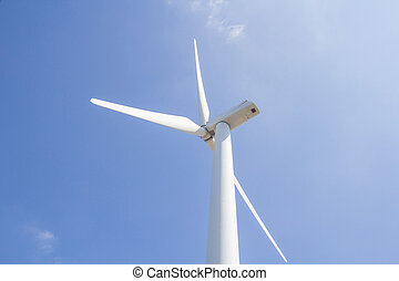 low angle view of wind turbine against partly cloudy blue sky