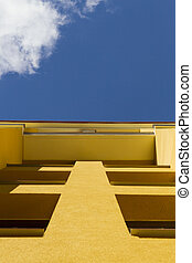 Low angle view on modern apartment building exterior