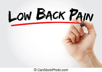Low back pain text with marker, concept background