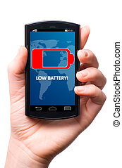 low battery - battery is getting low on touch screen phone,...