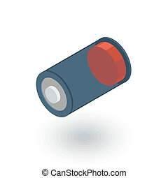 low battery, charge isometric flat icon. 3d vector