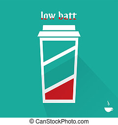 Low battery coffee cup, flat design, vector