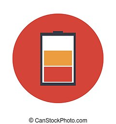 Low battery flat vector icon