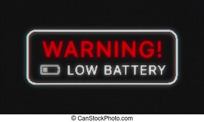 Low battery warning message animation on old phone display.