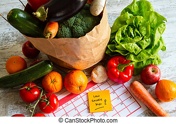 Low calorie diet,  vegetables and fruits