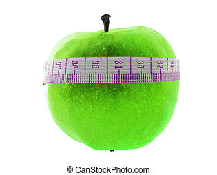 low-calorie food - low-calorie food: green apple with meter...