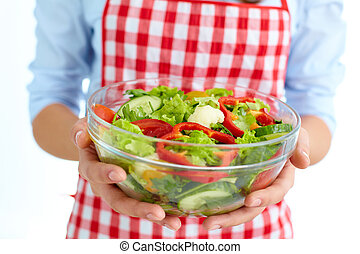 Low calorie food - Close-up of fresh vegetable salad in bowl...