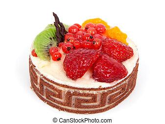low-calorie, isolado, fruta, fundo, bolo, branca