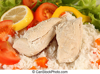 Low calorie meal - Boiled chicken and rice with salad...