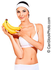 low calorie - Portrait of a beautiful young woman with...