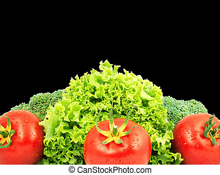 Low-calorie raw vegetables isolated on black background