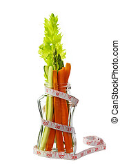 Low calorie vegetable arranged in an hour glass shaped glass...