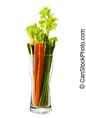 Low calorie vegetable arranged in an hour glass shaped glass