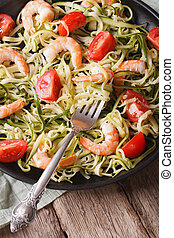 Low calorie zucchini pasta with shrimp macro vertical - Low...