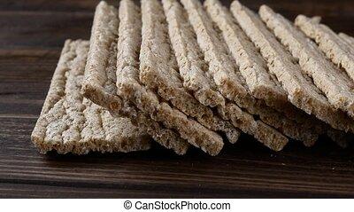 Low calories snack bread, stack of crispbread