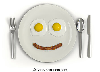Low Carb Diet - A plate with a frowning face made from two...