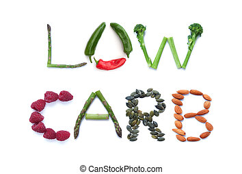 Low carb diet - Fruits, vegetables and seeds spelling the...