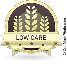 Low carb food label, badge or seal with brown and tan color...