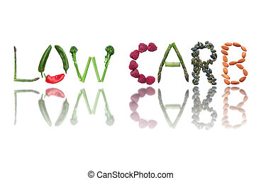 Low carb - Fruits, vegetables and seeds spelling the word...