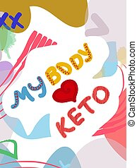 Low carb high fat white collage lettering. Keto diet flat ...