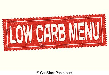 Low carb menu grunge rubber stamp on white background,...