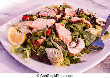 white plate of organic salad with strips of salmon, weight loss, diet, isolated, close up