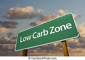 Low Carb Zone Green Road Sign In Front of Dramatic Clouds and Sky.