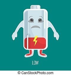 Low charged battery cartoon character with hands and face