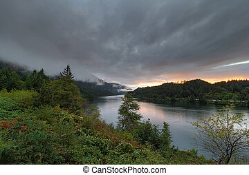 Low Clouds Over Columbia River at Sunset