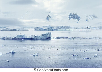 Low clouds over the mountains and chunks of ice floating of Port Lockroy research station, Antarctica, Polar