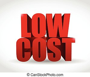 low cost 3d text sign illustration design over a white background