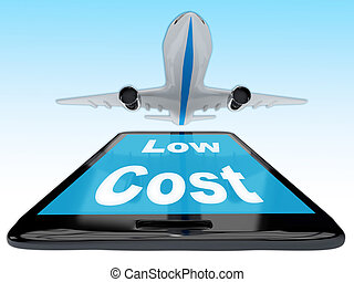 Render illustration of Low Cost title on cellular phone.