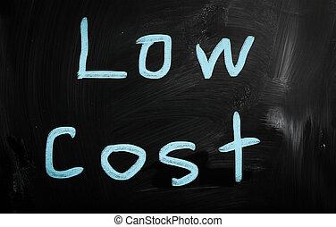 """""""Low cost"""" handwritten with white chalk on a blackboard"""