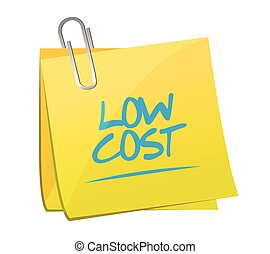 low cost memo post illustration design over a white...