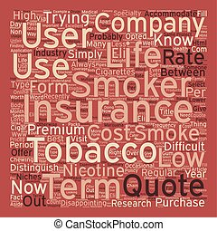 Low Cost Term Life Insurance For Smokers And Nicotine Users text background wordcloud concept