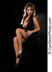 Low cut dress - Full body of a beautiful Hispanic brown hair...