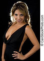 Low cut dress - beautiful brown hair woman wearing sexy...