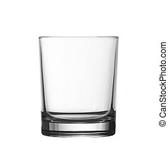 low empty glass isolated on white with clipping path included