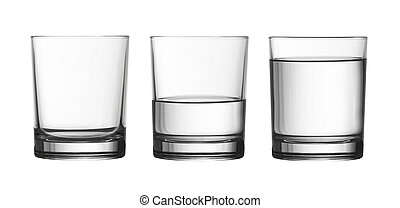 low empty, half and full of water glass isolated on white ...