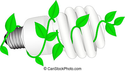 low-energy bulb - isolated low-energy bulb with leafs