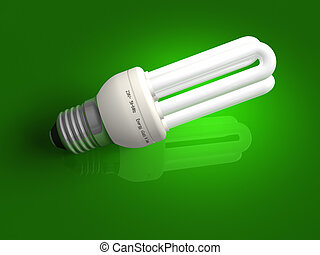 Low-energy lamp over green  - Low-energy lamp over green
