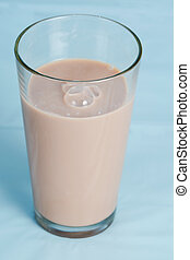 Low-fat chocolate milk in glass