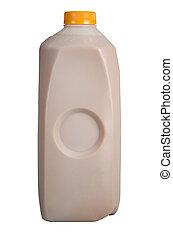 Low-fat chocolate milk in half-gallon carton isolated on...