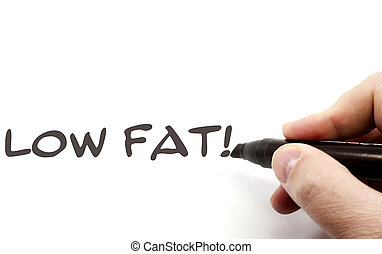 Low Fat written in black ink on a piece of paper by a hand making a great concept.