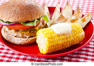 Low Fat Summer Picnic - Healthy turkey burger on whole grain...
