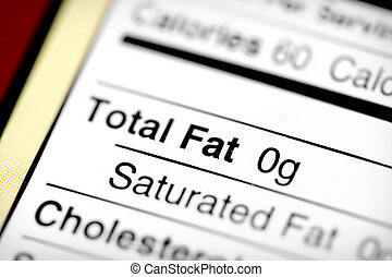 Low in fat - Nutritional label with focus on fats.