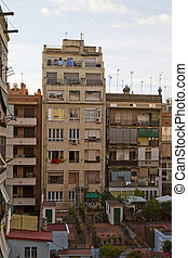 Low income buildings seen from their backyard. Location Spain.