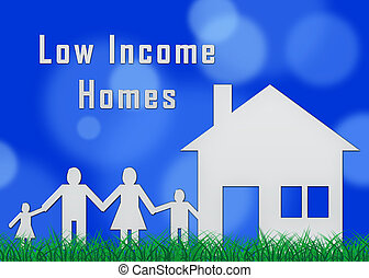 Low Income Homes And Houses For Poverty Stricken Renters And Buyers. Inexpensive Budget Property In The City - 3d Illustration