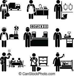 A set of pictograms showing the professions of people in the low income industry.